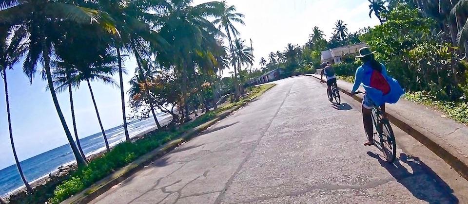 Cyclotourism in Baracoa, Cuba.