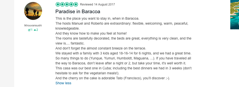 Villa Paradiso Baracoa review by a Dutch family