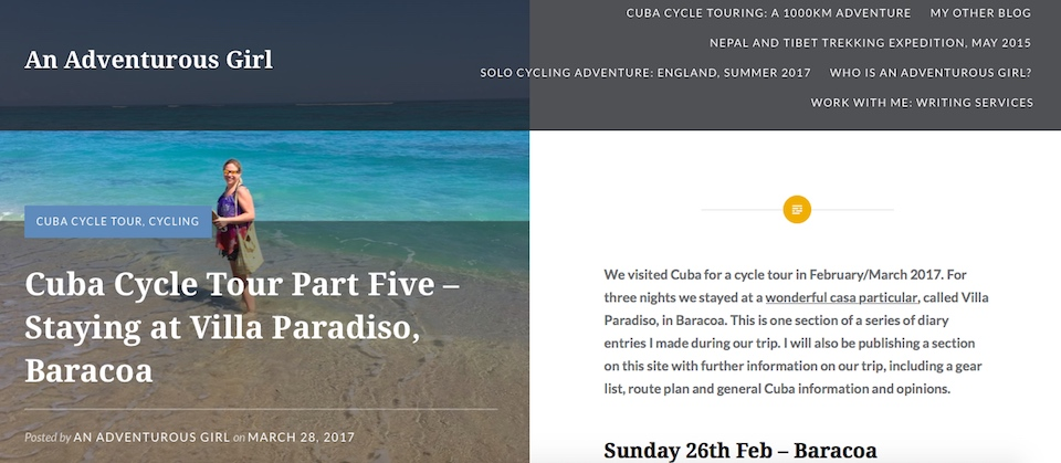 An Adventurous Girl blogs about staying at Villa Paradiso Baracoa Cuba