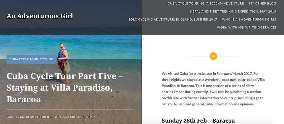 An Adventurous Girl blogs about staying at Villa Paradiso Baracoa Cuba