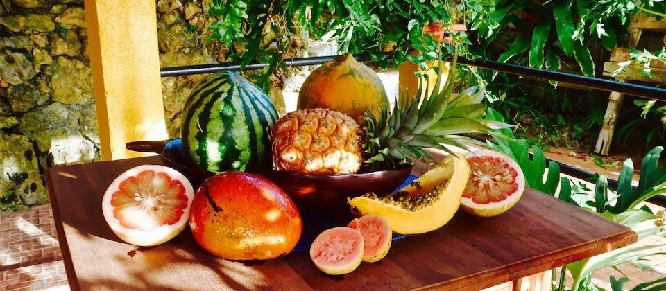 Fresh organic fruit in Villa Paradiso Baracoa Cuba