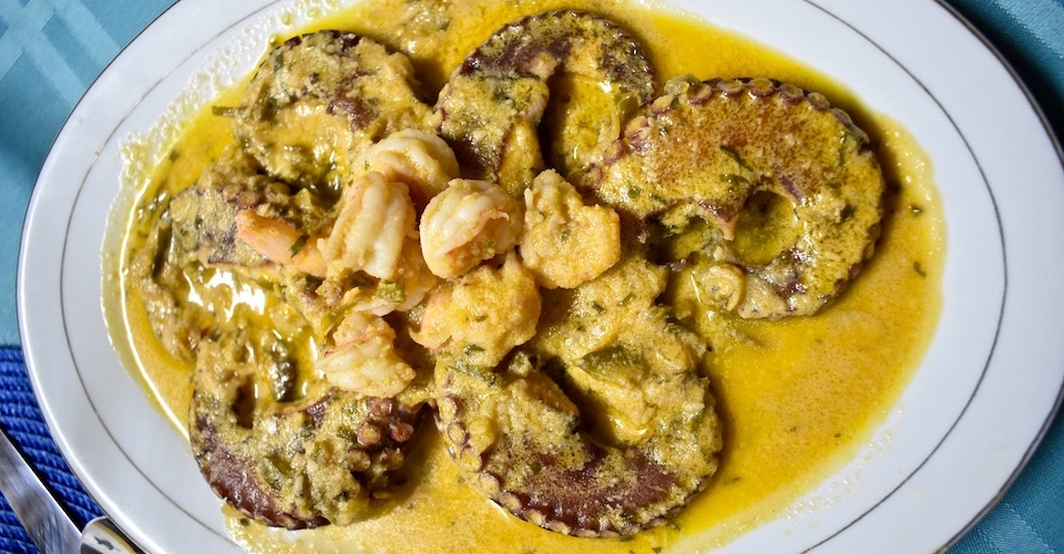 Octopus & Shrimp in Coconut Milk Sauce • Villa Paradiso Baracoa Cuba
