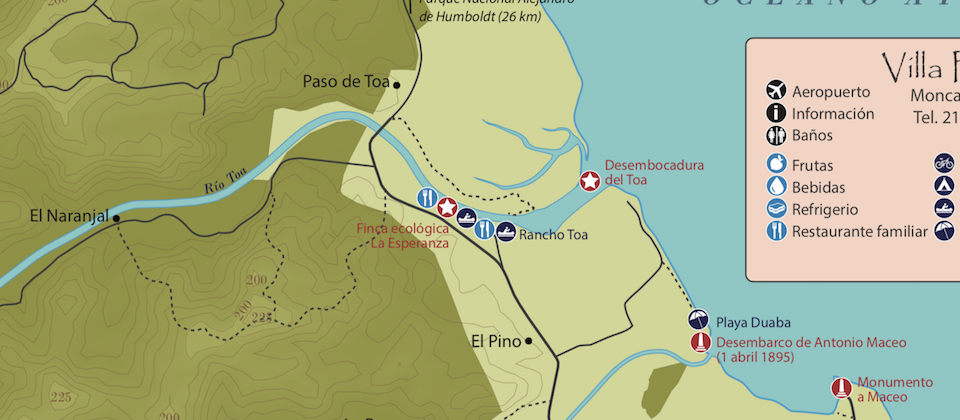 Cycling map • Carte cyclable • Villa Paradiso • Baracoa Cuba