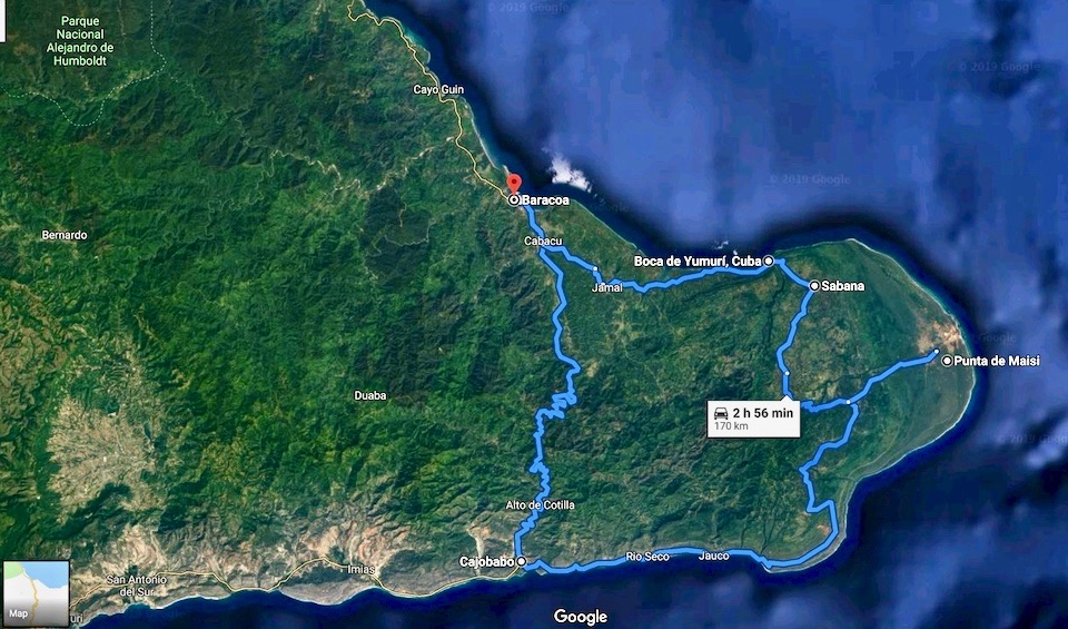 Cuba Road Trip • Loop Baracoa-Cajobabo-Maisi-Baracoa • Google maps screenshot